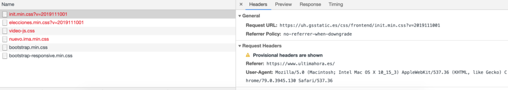 Captura de pantalla de les eines de desenvolupador